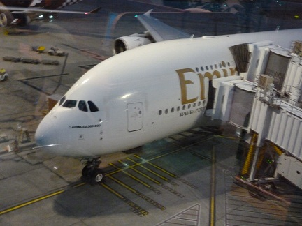 Emirates Airbus A380-800 - Awaiting my flight in First Class on the Emirates A380