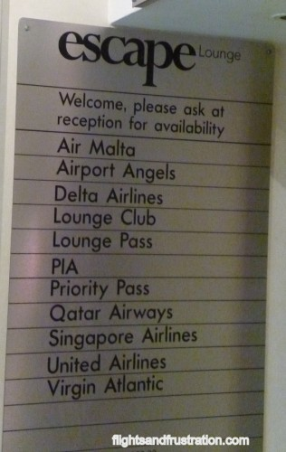 These airlines use the Escape Lounge