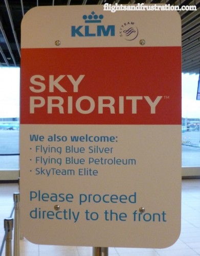 A Sky Priority sign