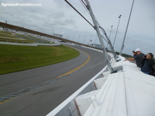 Admiring the bank incline on the Daytona raceway