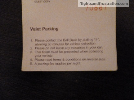 Hotel Valet Parking Ticket